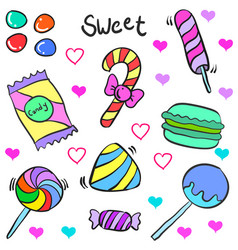 Candy theme doodle style collection vector