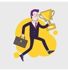 Celebrating businessman holding winner cup trophy vector