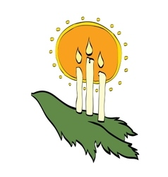 Christmas candles shining through the branches of vector