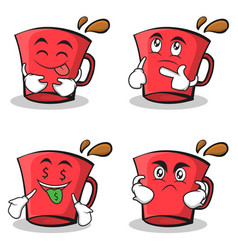 collection of red glass character cartoon set vector image