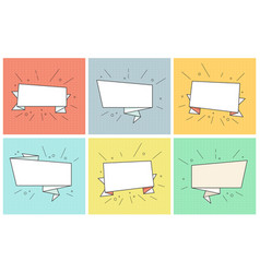 empty ribbon banners retro bubbles set vector image vector image