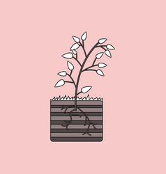 Flat icon design collection plant and root vector