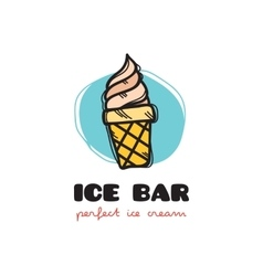 Funny doodle style ice cream logo sketchy vector