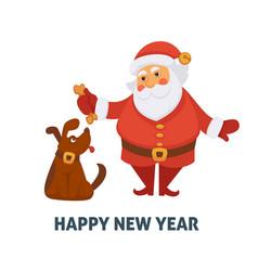 happy new year cartoon santa and dog with vector image