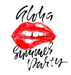 hello summer party hand drawn lettering isolated vector image