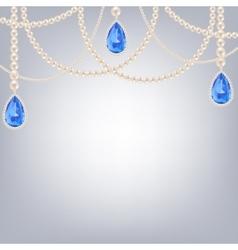 Jewelry with sapphire pendants vector