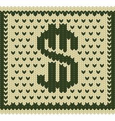 Knitted dollar scheme vector