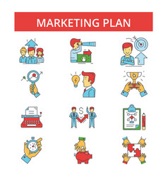 marketing plan thin line icons vector image