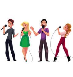Men and women singing karaoke holding microphones vector