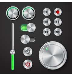 Metal interface buttons collection vector image vector image