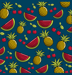 Natural watermelon and pineapple fruit background vector
