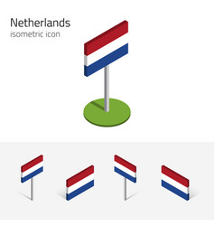 netherlands flag 3d isometric icons vector image
