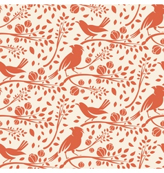 Seamless pattern of spring birds in branches with vector image