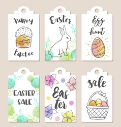 Set of easter tags vector