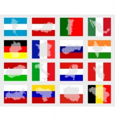 set of flags with maps vector image vector image