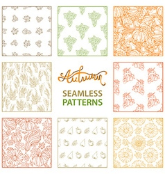 Set of seamless linear autumn patterns vector