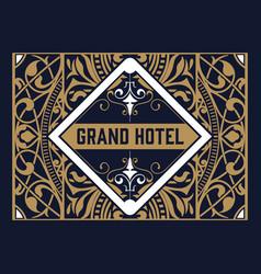 vintage logo template hotel restaurant business vector image vector image