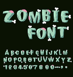 Zombie font Bones and brains Living dead alphabet vector image