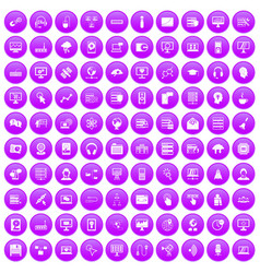 100 on-line seminar icons set purple vector