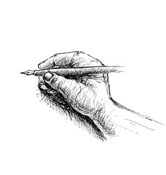 Hand holding pencil sketch vector