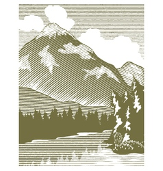 Woodcut Wilderness Lake vector image
