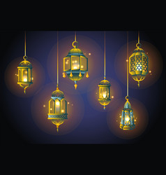 Ramadan lights - realistic set of objects vector
