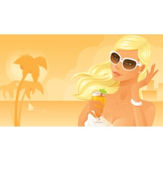 Beautiful woman drinking cocktail on beach vector