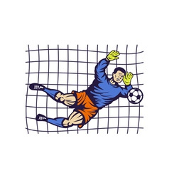 Soccer football goalie keeper saving goal vector