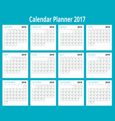 2018 calendar print template week starts sunday vector image vector image