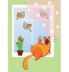 Cat sings with the birds vector