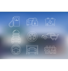 Outline car service icons set vector