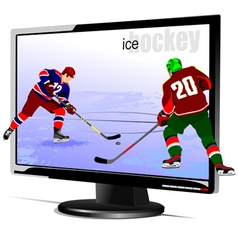 Al 0839 monitor and hockey vector