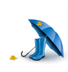 Background with blue umbrella and rain boots vector