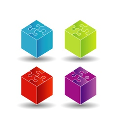 3d boxes with puzzle roof vector image