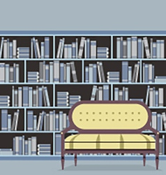 Empty reading seat in front of a bookcase vector