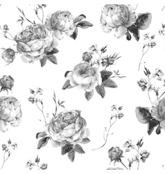Vintage floral seamless background with blooming vector