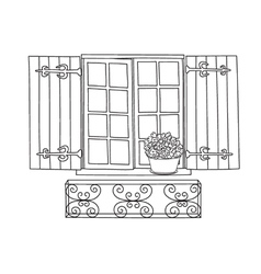 Window potflower vector