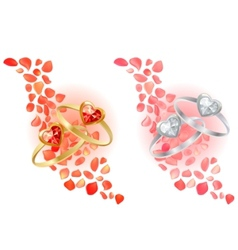 Rings and rose petals vector