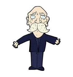 Comic cartoon disapointed old man vector