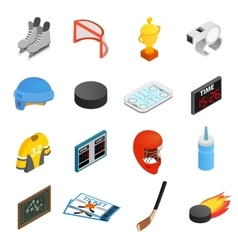 Hockey isometric 3d icons set vector