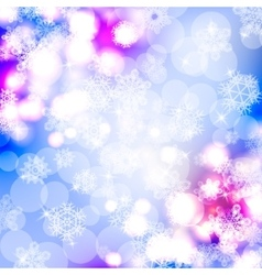 Bokeh lights background with snowflakes vector