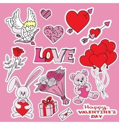 Vallentines day doodles set vector image