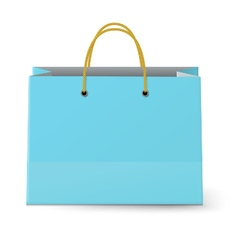 Blue paper shopping bag with yellow rope grips vector