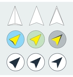Navigation arrow flat thin line icons set vector