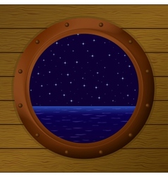 Night sea in a ship window vector image