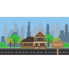 Home for rent with wood wooden sign board vector