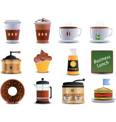 Cafe and bistro icons vector