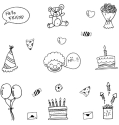 Funny doodle art birthday vector