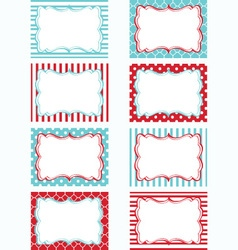 Red and aqua printable labels set tags invitation vector