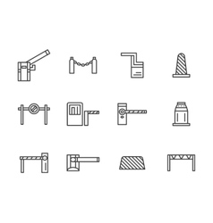 Barriers black line icons set vector